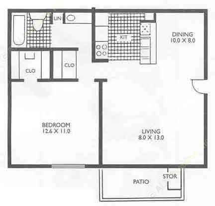 575 sq. ft. A1C floor plan