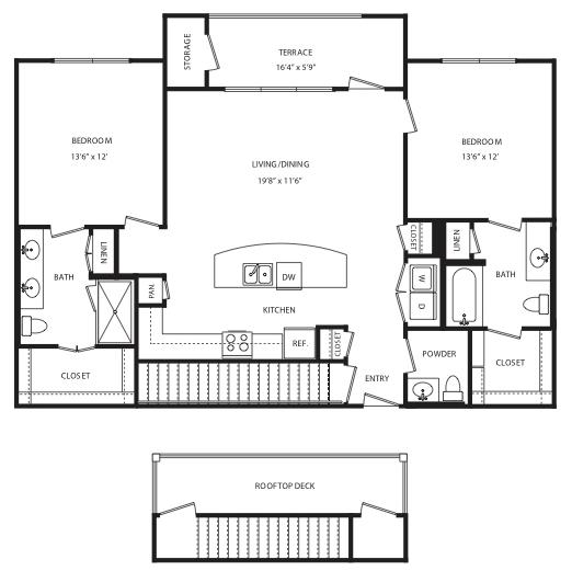 1,192 sq. ft. B14 floor plan