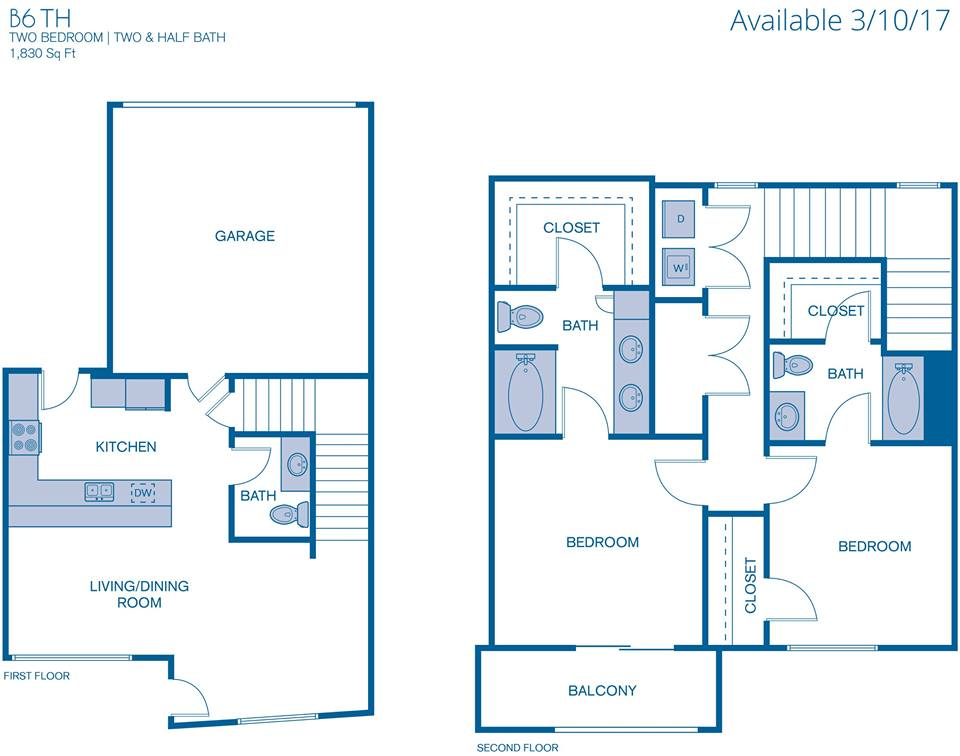 1,830 sq. ft. B6 floor plan