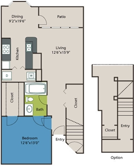 825 sq. ft. A1 floor plan