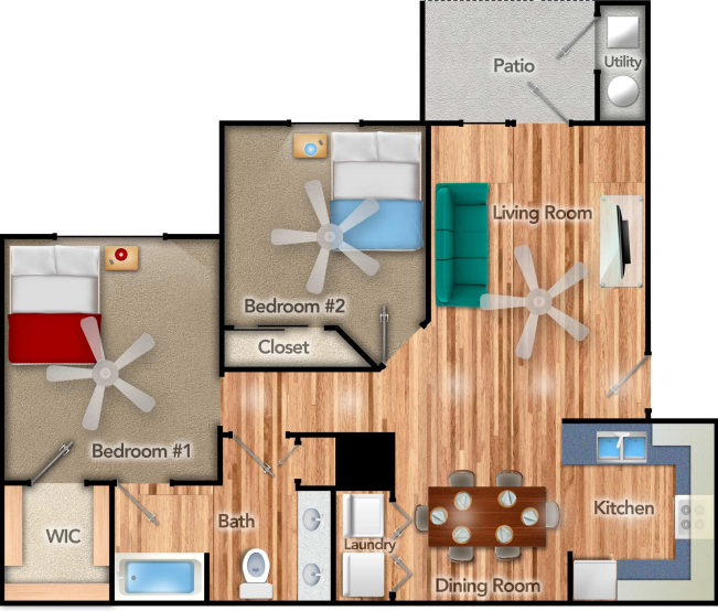 975 sq. ft. Piedmont 60% floor plan