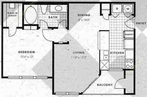 653 sq. ft. A1-A1G floor plan