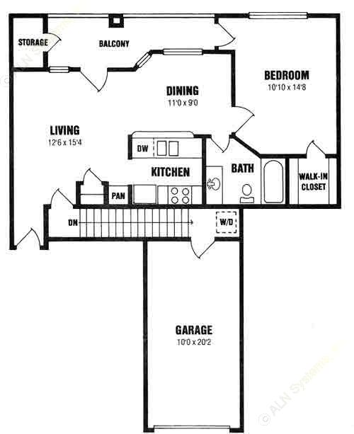 665 sq. ft. A2-2 floor plan