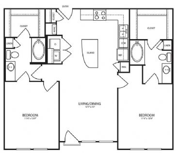 1,058 sq. ft. B2-1 floor plan