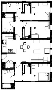 1,265 sq. ft. C2 floor plan