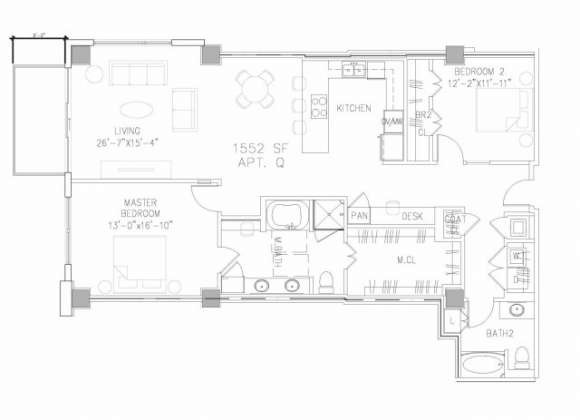 1,552 sq. ft. B6 floor plan
