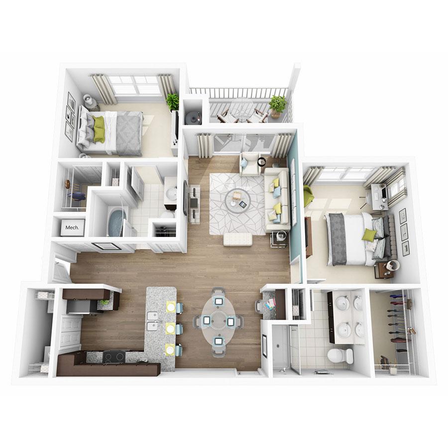 1,109 sq. ft. Elate floor plan
