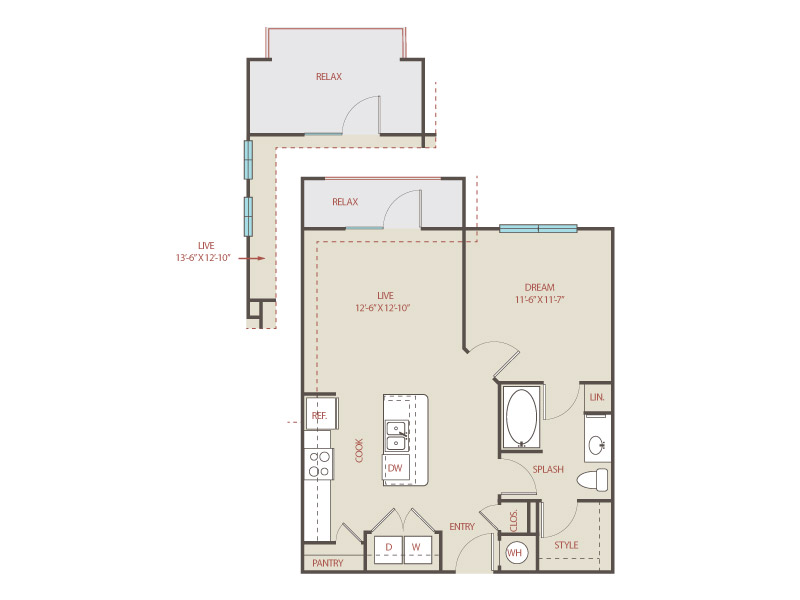 692 sq. ft. to 706 sq. ft. A1 McNay floor plan
