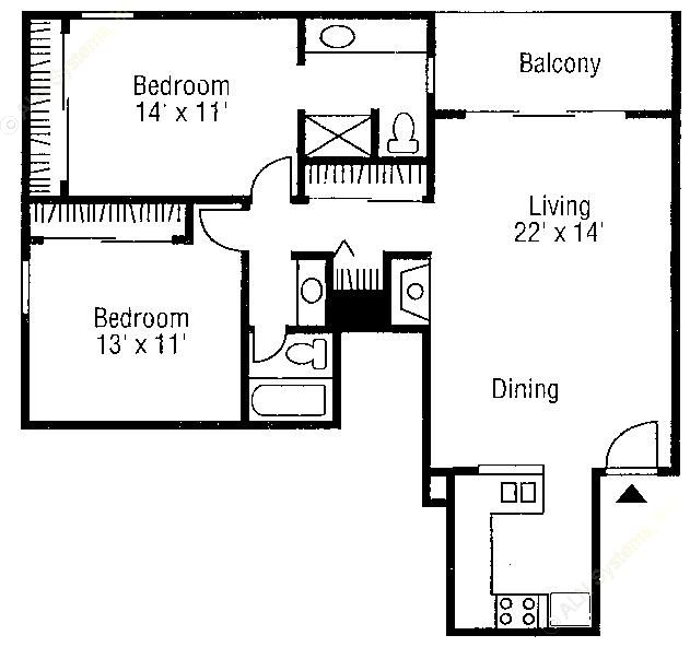 1,020 sq. ft. B2 floor plan