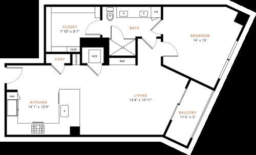 914 sq. ft. A4 floor plan