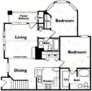 1,017 sq. ft. floor plan