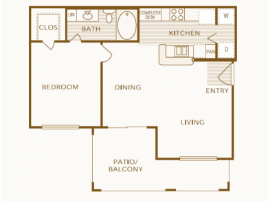 711 sq. ft. A floor plan