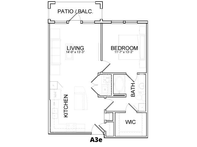 751 sq. ft. A3E floor plan