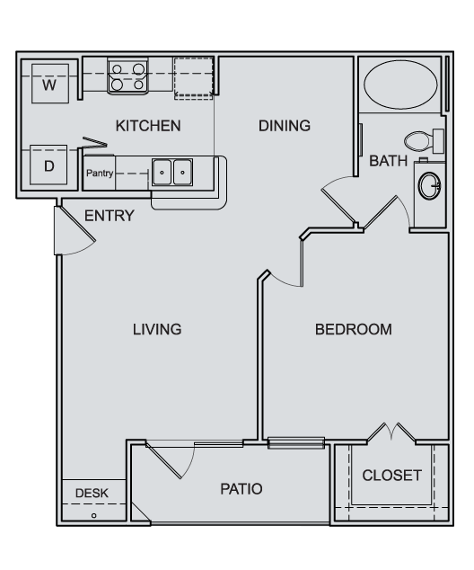 668 sq. ft. to 678 sq. ft. A1 floor plan
