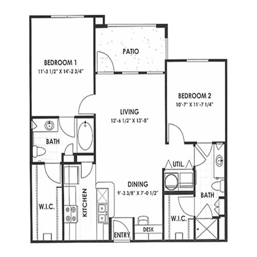 990 sq. ft. 60% floor plan