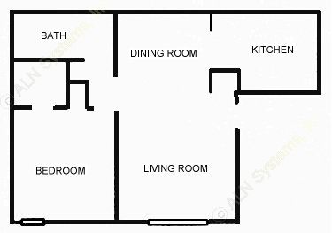 689 sq. ft. 1-C floor plan