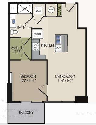691 sq. ft. D floor plan