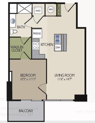 691 sq. ft. D3 floor plan