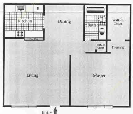 720 sq. ft. B/60% floor plan