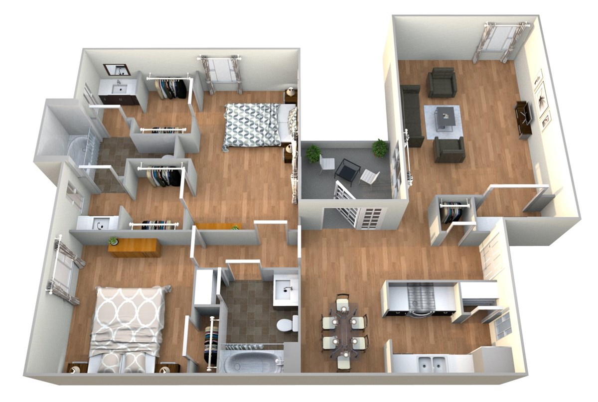 1,146 sq. ft. 2x2 A floor plan