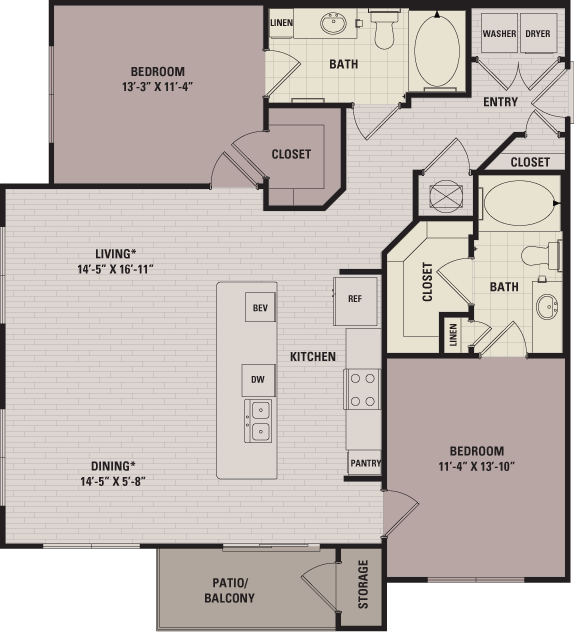 1,180 sq. ft. C3 floor plan