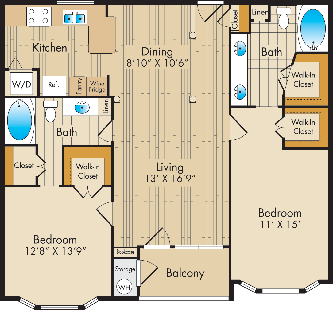 1,155 sq. ft. E1 floor plan