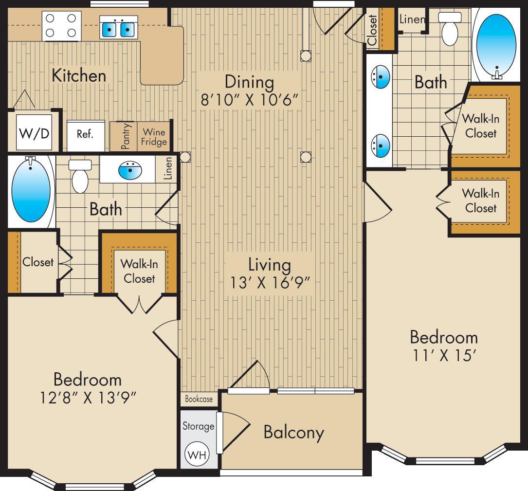 1,155 sq. ft. E1 floor plan