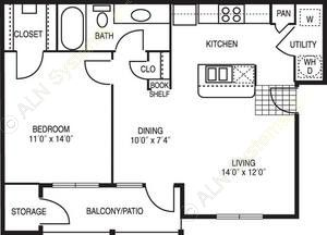 773 sq. ft. Prelude floor plan