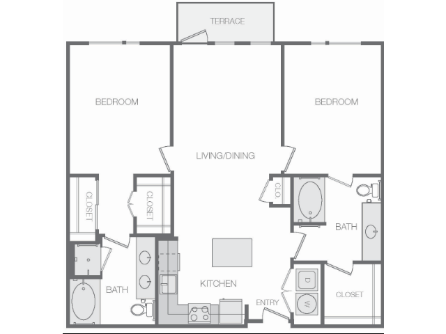 1,158 sq. ft. to 1,167 sq. ft. F floor plan