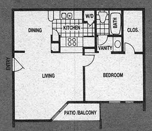 613 sq. ft. A2 floor plan