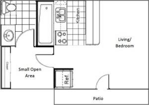 460 sq. ft. EFF floor plan