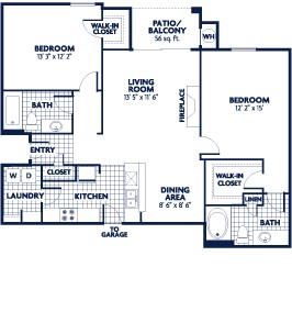 1,124 sq. ft. B6 floor plan