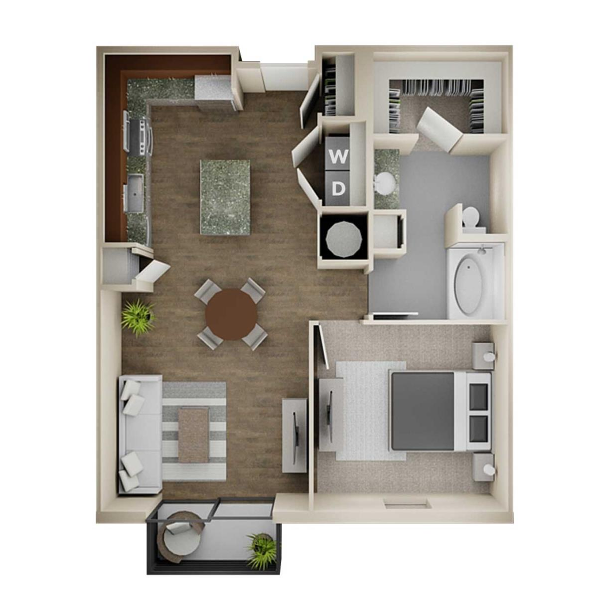 857 sq. ft. 1B Alt 2 floor plan