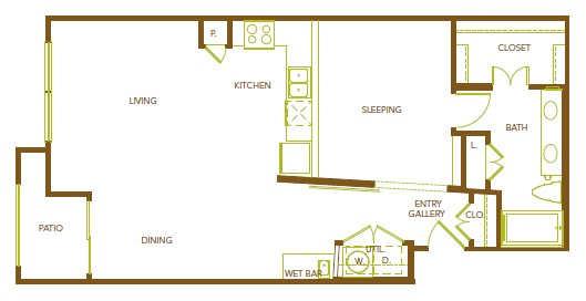 888 sq. ft. A16 floor plan