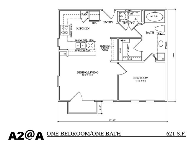 621 sq. ft. A1C1 floor plan
