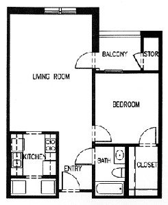 764 sq. ft. C3A-60 floor plan