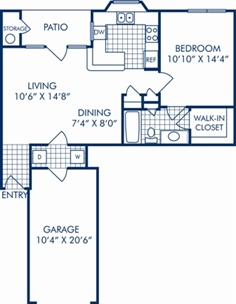736 sq. ft. A2DR floor plan