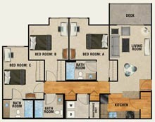 1,205 sq. ft. floor plan