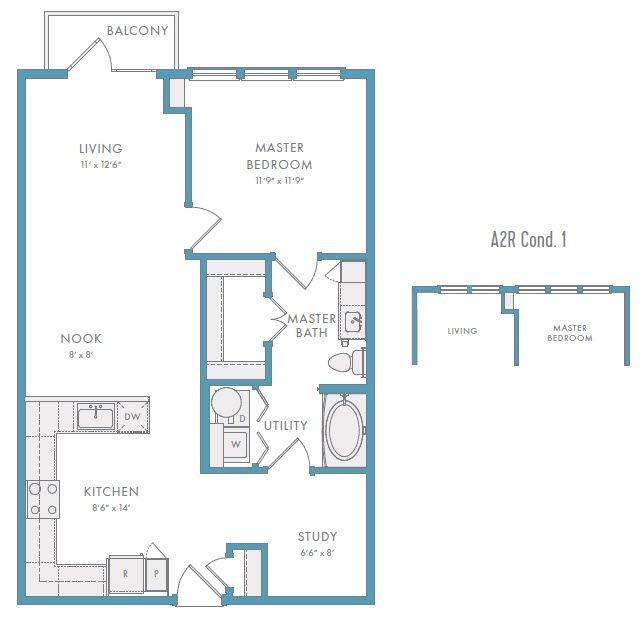 860 sq. ft. A2R floor plan