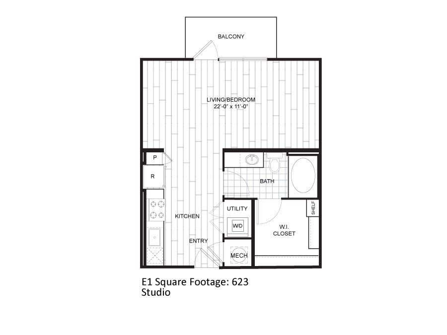 623 sq. ft. E1 floor plan