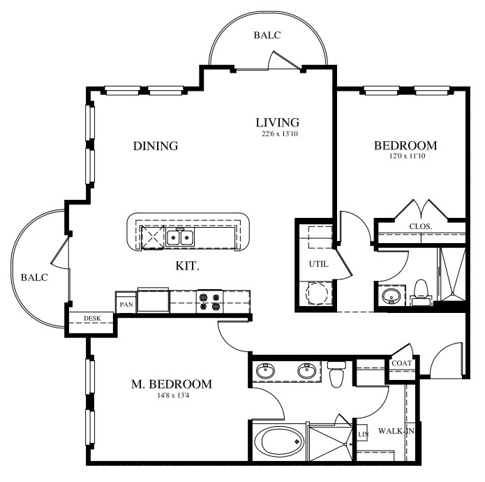 1,257 sq. ft. B3 floor plan