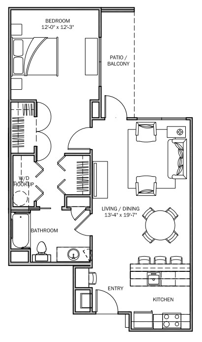 816 sq. ft. Bluebonnet 60% floor plan