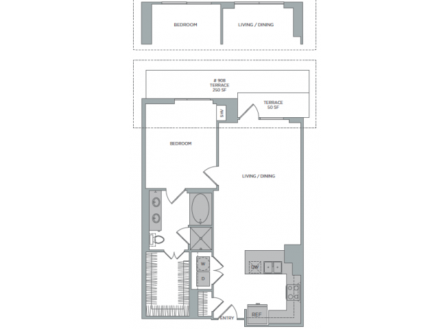 909 sq. ft. 1O floor plan