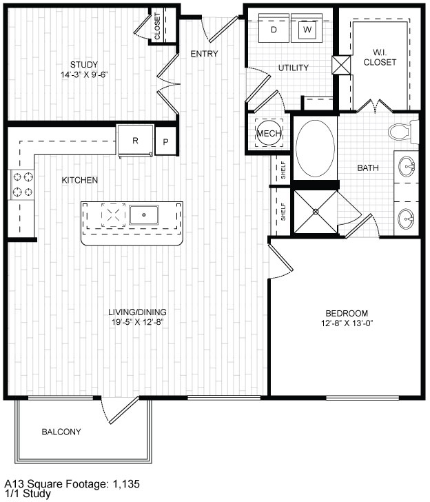 1,135 sq. ft. A13 floor plan