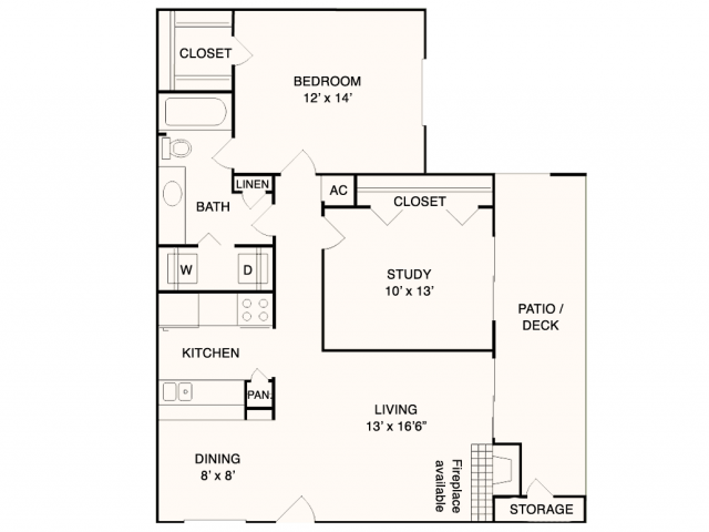 912 sq. ft. A7 floor plan