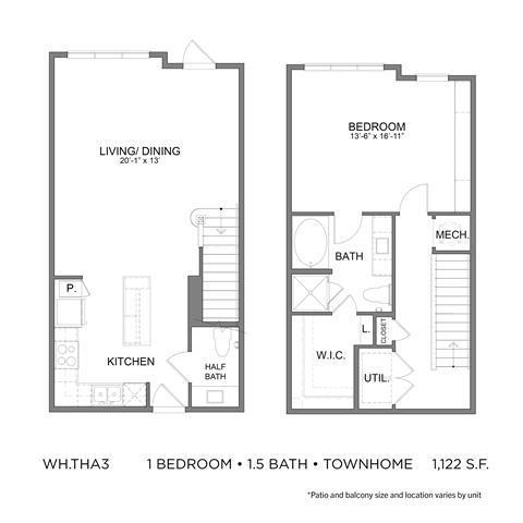 1,122 sq. ft. THA3 floor plan