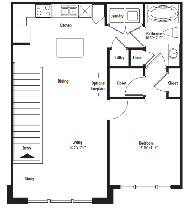 854 sq. ft. A1U floor plan
