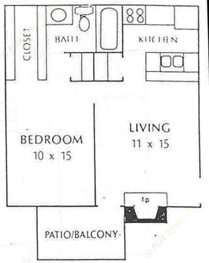 580 sq. ft. A2 floor plan