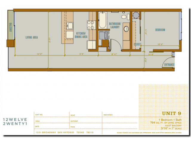 794 sq. ft. 2A9 floor plan