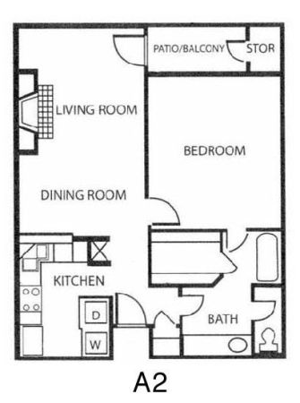 835 sq. ft. A2 floor plan
